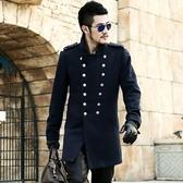 毛呢大衣-羊毛宮廷風修身軍裝中長款男雙排扣外套2色72ar5【巴黎精品】