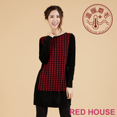 RED HOUSE-蕾赫斯-千鳥格加厚長版針織上衣(共三色)