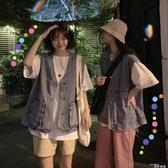 馬甲春裝外套女ins韓版休閒工裝網紅牛仔馬甲女寬鬆學生無袖坎肩 2020新品