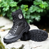 軍靴男特種兵高幫特訓靴夏季透氣超輕作戰靴帆布黑色作訓鞋保安鞋 KV4060 【野之旅】