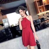8199#夏季新款韓版女裝性感金屬圓環掛脖修身無袖連身裙A字裙GT6F-646-A紅粉佳人