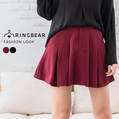 短裙--甜美可人雙側斜口袋前拉鍊後鬆緊百摺毛呢褲裙(黑.紅XL-5L)-R174眼圈熊中大尺碼