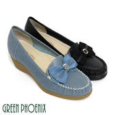 U33-20611 女款全真皮楔型包鞋  緞面立體蝴蝶結金屬裝飾臘感牛皮楔型包鞋【GREEN PHOENIX】