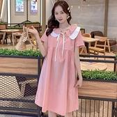 漂亮小媽咪 法系娃娃 花邊領 洋裝 【D7928】 短袖 荷葉 繫帶 娃娃領 娃娃裙 洋裝 孕婦裝 []