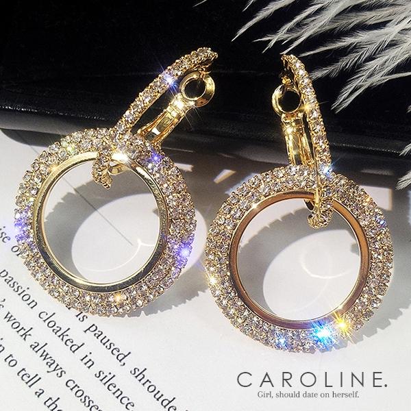 《Caroline》★韓國熱賣水鑽氣質耳環  甜美浪漫風格時尚流行耳環70048