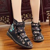 春秋新款民族風短筒繡花靴子平底廣場舞單靴老北京布靴女短靴 週年慶降價