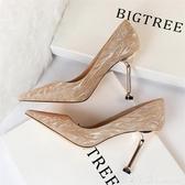 歐美風香檳色高跟鞋女細跟銀色閃亮伴娘鞋婚鞋宴會尖頭性感女單鞋