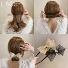 盤髪器 2021韓國代購春夏新款歐根紗丸子頭盤髮器網紅懶人編髮造型神器女
