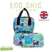 英國ECO CHIC時尚可折疊方形後背包-塗鴉貓