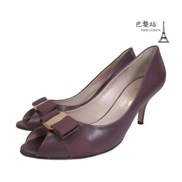 【巴黎站二手名牌專賣店】*現貨*Salvatore Ferragamo 真品*紫咖色皮革魚口跟鞋(7.5號)