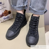 馬丁靴女夏季薄款厚底帆布高幫鞋黑色夏天靴子女短靴  中秋佳節