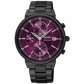 【台南 時代鐘錶 SEIKO】精工 CS系列 SNDV25P1 鋼錶帶 三眼計時女錶 36mm 紫紅/黑 7T92-0VN0P