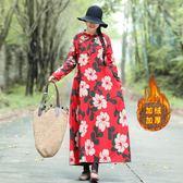 冬季新款女文藝復古盤扣加厚加絨打底長款棉麻洋裝連衣裙寬鬆袍子洋裝