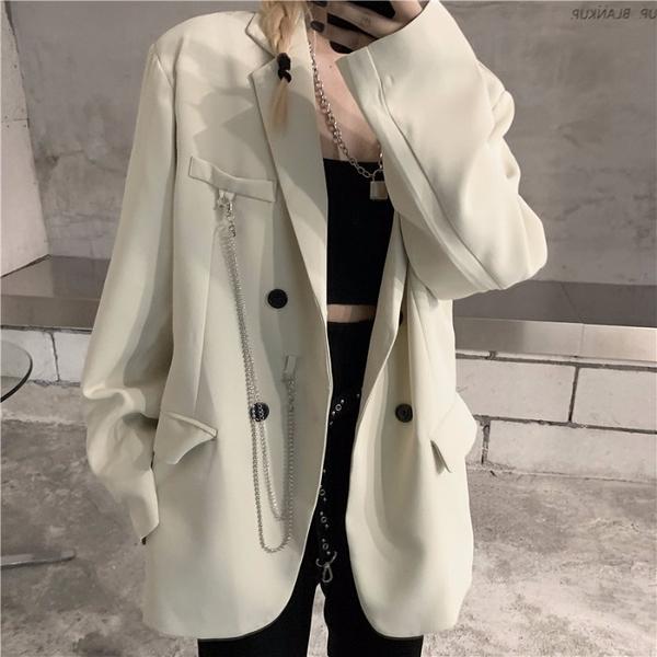 白色西裝外套女秋冬季ins潮2021年新款寬鬆韓版百搭休閒炸街西服 童趣屋 免運