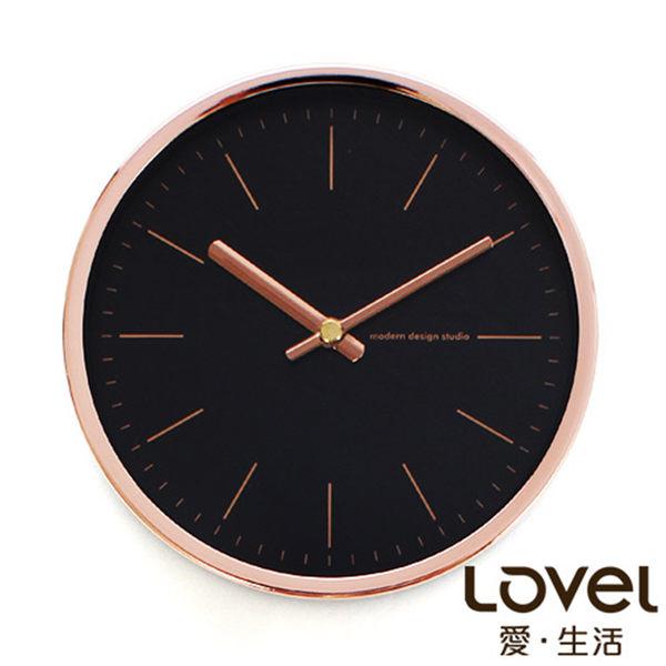 Lovel 16cm玫瑰金鋁框靜音桌鐘/壁掛時鐘-Dark knight(736BK-RG)