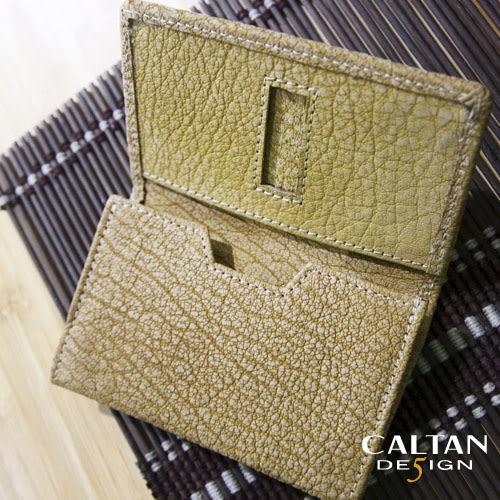 牛皮/名片夾【CALTAN】簡約橫式名片卡片夾-1801爆裂紋黃