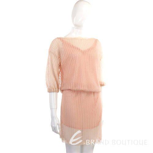 Kristina Ti 粉橘色網狀七分袖洋裝 0920027-05