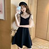 洋裝 2021年流行裙子赫本小黑裙性感女裝氣質收腰法式顯瘦吊帶連身裙夏 中秋節好禮