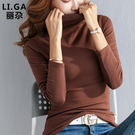 半高領打底衫女秋冬內搭純棉長袖t恤女裝修身緊身洋氣大碼上衣