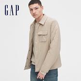 Gap 男裝 保暖翻領按扣外套 528306-鵝卵石灰白