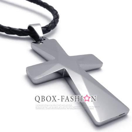 《 QBOX 》FASHION 飾品【C10020989】精緻個性粗曠鑽石鏡面十字架鎢鋼墬子項鍊