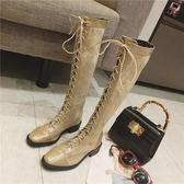 一件免運-復古馬丁靴女英倫風復古系帶秋冬新款粗跟過膝長筒靴原宿氣質女鞋