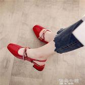 粗跟涼鞋小CK女鞋新款百搭英倫包頭涼鞋粗跟韓版學生秋季瑪麗珍單鞋女 海角七號