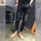 男士牛仔褲修身小腳破洞百搭九分褲