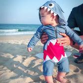 兒童泳衣男童可愛連體鯊魚小童寶寶嬰幼兒長袖防曬速干游泳衣泳褲