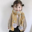 兒童圍巾 兒童大毛球冬款韓國范女孩圍脖男童寶寶圓點加厚雙面保暖【快速出貨八折下殺】