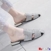 【伊人閣】穆勒鞋 方頭 復古 平底 穆勒鞋 平底 包頭 半拖鞋 涼拖
