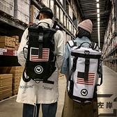 時尚潮流後背包男大容量多功能旅行包女運動健身圓筒包【左岸男裝】