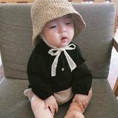 蕾絲繫帶兒童帽子夏季男女寶寶遮陽防曬海灘度假可折疊鉤針草帽