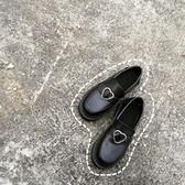 全館83折ulzzang春秋日系原宿軟妹少女愛心搭扣低跟學生圓頭小皮鞋娃娃鞋