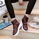 中筒雪靴-時尚獨特個性保暖女厚底靴子2色...