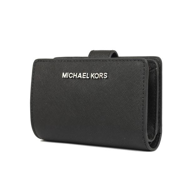 Michael Kors  jet set travel 防刮皮革銀字釦式中夾(黑色)