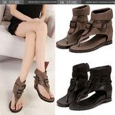 羅馬平底涼鞋 皮帶扣高幫夾趾人字坡跟女鞋