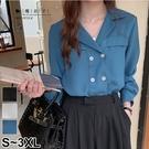 【QV3249】魔衣子-純色翻領雙排釦長袖襯衫