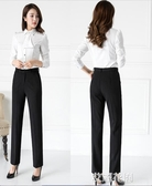 西裝褲夏黑色直筒褲上班職業正裝工作褲工裝高腰薄款西褲女『艾麗花園』