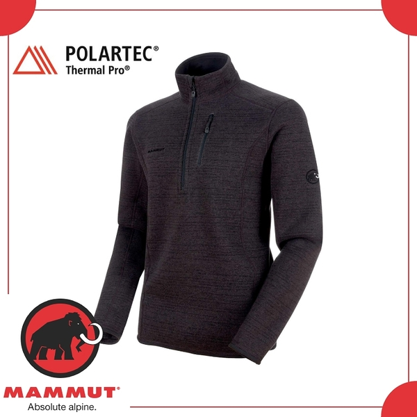 【MAMMUT Arctic ML HZ Pull 男《幻影黑》】1014-00894-00162/半開襟/快乾保暖/中層衣