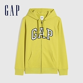 Gap男裝 碳素軟磨系列 Logo法式圈織開襟連帽外套 853131-黃色