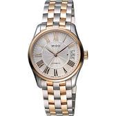 MIDO 美度 Belluna II Lady 羅馬機械女錶-銀x雙色版/33mm M0242072203300