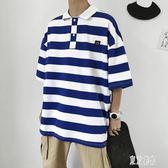 新款時尚t恤男潮流韓版條紋polo衫夏季寬鬆百搭休閒半袖上衣CY2333『東京潮流』