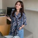 DE shop - 短袖襯衫設計街頭花紋寬鬆休閒襯衫N-2858