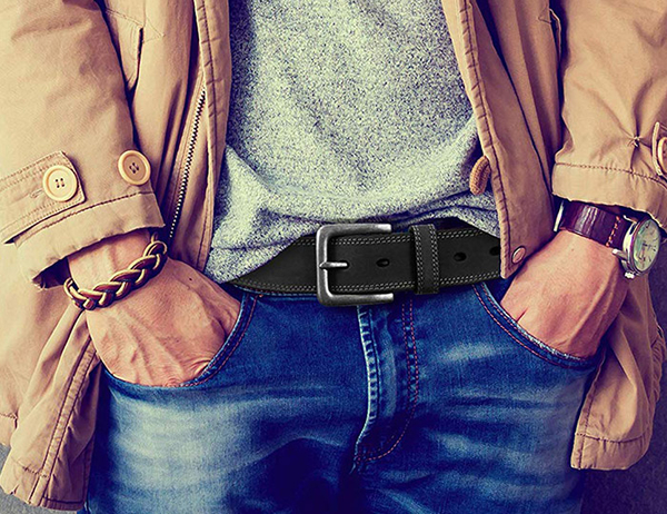 【Timberland】男皮帶 皮帶 雙車線 仿舊銀扣頭/炭黑