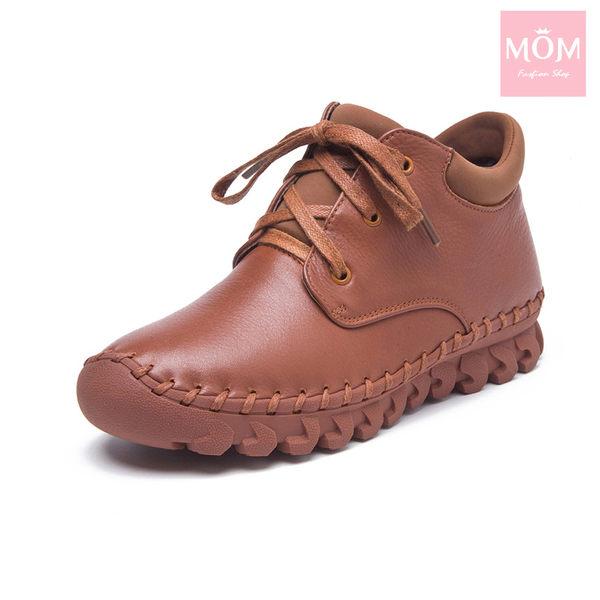 全真皮百搭舒適手工縫線綁帶設計休閒短靴 棕 *MOM*