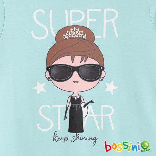 印花長袖T恤01深藍綠-bossini女童