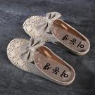 2021春夏季韓版新款蕾絲包頭網面半拖鞋平底女亞麻懶人外穿涼拖鞋 滿天星