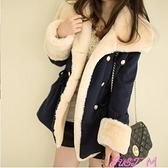 加絨加厚牛仔外套女冬季大毛領韓版機車羊羔毛外套女學生短款外衣 JUST M