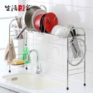 【生活采家】豪華型跨海大橋碗盤餐具伸縮瀝水架(#27248)